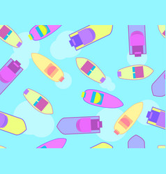 Boats seamless pattern top view boats float on vector