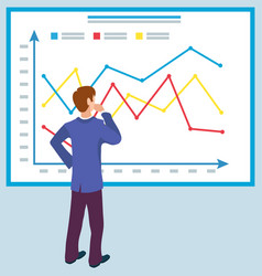 business education board with graphs and charts vector image