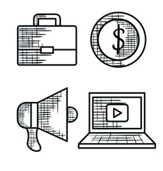 Business set icons drawing vector