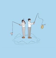 Businesspeople fishing for monetary value vector