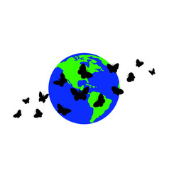 Butterflies against the background of the planet vector