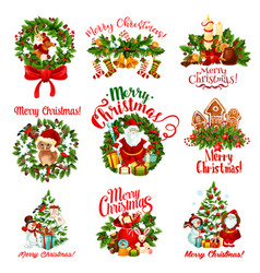 Christmas holiday wreath and new year gift badge vector