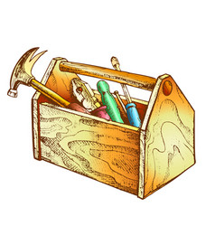 color vintage wooden toolbox with old instrument vector image