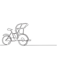 Continuous one line drawing pedicab is viewed vector
