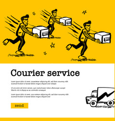 courier service concept web banner with delivery vector image