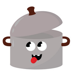 Crazy saucepan on white background vector