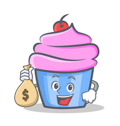 cupcake character cartoon style with money bag vector image