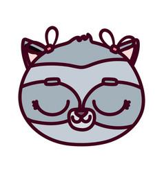 cute animal face female raccoon cartoon character vector image