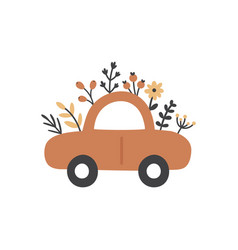 cute car and flowers vector image