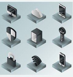 Cybersecurity color gradient isometric icons vector