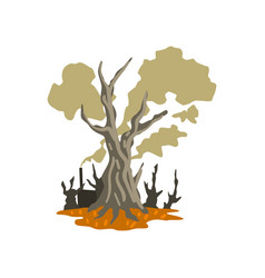 Dead trees and toxic waste dump ecological vector