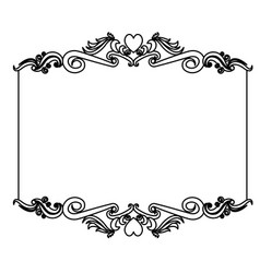 decorative card frame floral border cute image vector image
