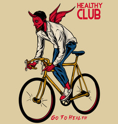 Devil riding bicycle vector