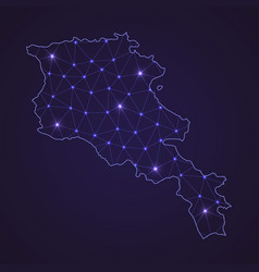 Digital network map of armenia abstract connect vector