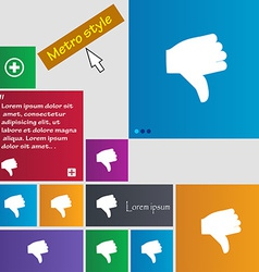 Dislike Thumb down icon sign Metro style buttons vector image