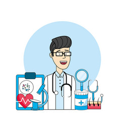 Doctor with medical diagnosis treatment prevention vector