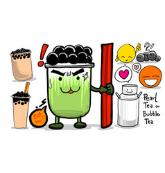 Drawing and paint pearl tea or bubble tea vector