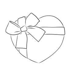 Drawing heart with big ribbon bow vector