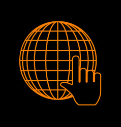 earth globe with cursor orange icon on black vector image