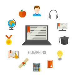 Elearning flat composition vector