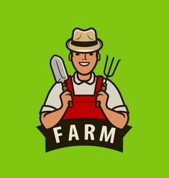 farm logo or label happy farmer with garden tools vector image