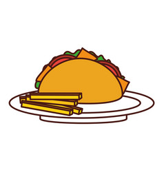 fast food taco french fries mexican menu vector image vector image