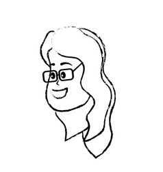 figure avatar woman face with hairstyle design vector image