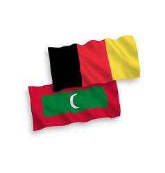 Flags belgium and maldives on a white vector