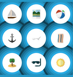 flat icon beach set of ship hook scuba diving vector image