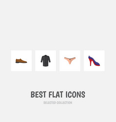 Flat icon dress set of male footware uniform vector