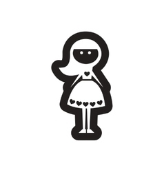 Flat icon in black and white girl vector