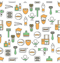 Flat line art barbershop seamless pattern vector