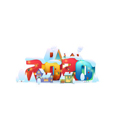 flat people decorate building a 2020 number vector image