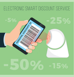 get discounts by e-discount card in your phone vector image
