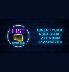 glowing neon fighting sport club sign in circle vector image