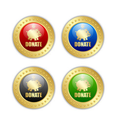 golden donate piggy bank icons with coin isolated vector image