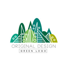 Green logo original design summer forest eco vector