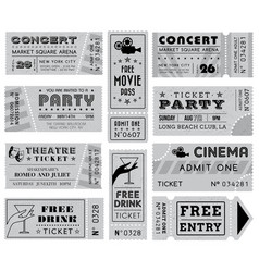 grunge grayscale tickets collection 3 vector image