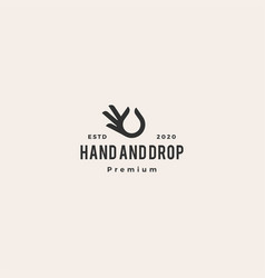 hand gesture black drop oil logo icon hipster vector image