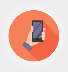 Hand with phone icon flat vector
