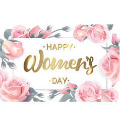 Happy mothers day pink roses with golden vector