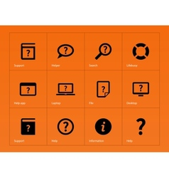 Help and FAQ icons on orange background vector image