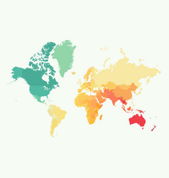 High detail world map with color vector