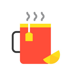 Hot lemon tea food and gastronomy set flat icon vector