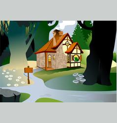 House in woods vector
