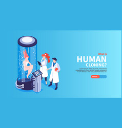 Human cloning isometric landing page vector