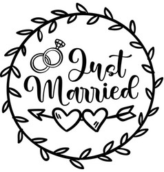 Just married isolated on white background vector