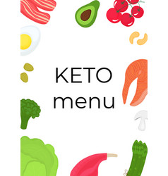 keto food vertical banner ketogenic diet concept vector image