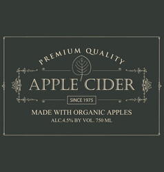 label for apple cider with leaf in retro style vector image