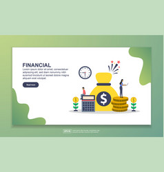 landing page template financial modern flat vector image